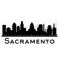 Sacramento City skyline black and white silhouette vector