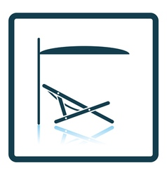 Sea beach recliner with umbrella icon vector image