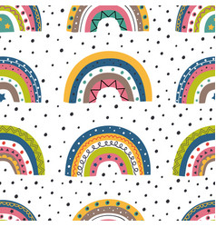 seamless pattern with colorful rainbows and peas vector image