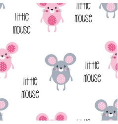 seamless pattern with little mouse vector image