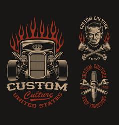 Set black and white logos or shirt designs vector