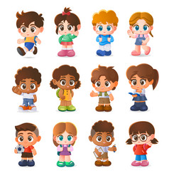 set kids character design cartoon vector image