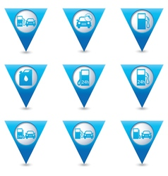 Set of 9 Transport BLUE triangular map pointer vector