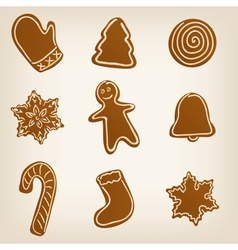 Set of Christmas cookies vector image