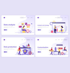 set of landing page templates data analysis vector image