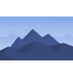 Silhouette of mountain on blue background vector image