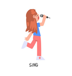 Sing word verb expressing action vector