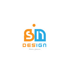 Sn s n orange blue alphabet letter logo vector