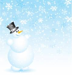 snowman on snowy background vector image