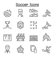 soccer football icon set in thin line style vector image