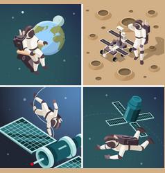 space astronauts outdoor planet vector image