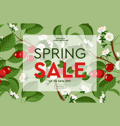 spring sale floral web banner with blooming pink vector image