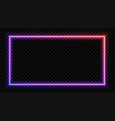 Square purple and red neon light on a transparent vector