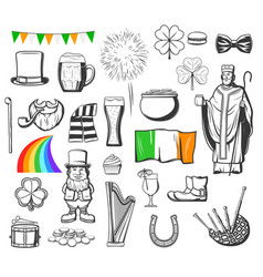 st patrick leprechaun gold pot clover and hat vector image