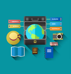 suitcase with globe for travel concept vector image