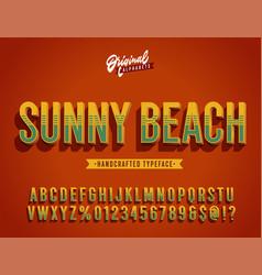 Sunny beach vintage 3d summer alphabet vector