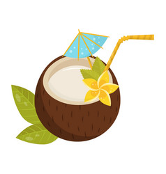 tropical cocktail in coconut shell with small vector image