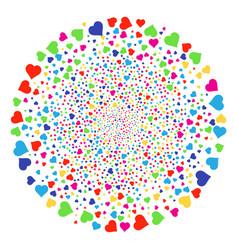 Valentine heart exploding spheric cluster vector