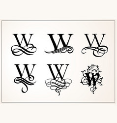 Vintage set capital letter w for monograms and vector