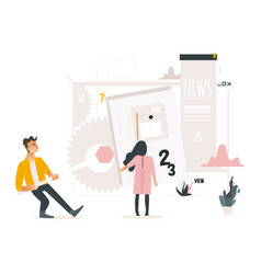 Web development concept with people building vector