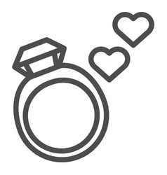 Wedding ring line icon ring with gemstone vector