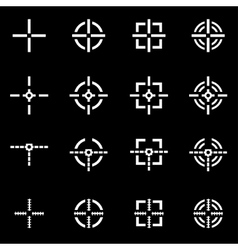 white crosshair icon set vector image