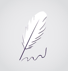 White feather calligraphic pen isolated vector