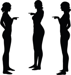 woman silhouette with hand gesture finger pointing vector image