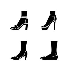 Women formal shoes glyph icons set female elegant vector