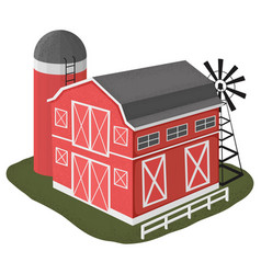 wooden barn house in cartoon style vector image