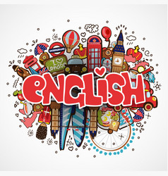 Word english on white background with england vector