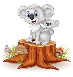 Cartoon baby Koala on Mother Back on tree stump vector image vector image