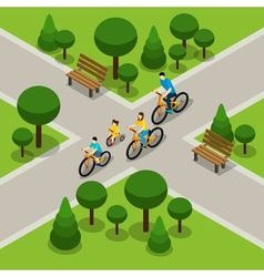 City Park Cycling Family Isometric Banner vector image