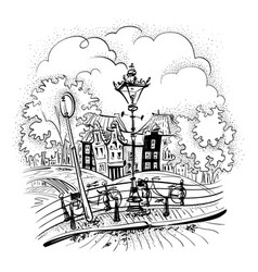 city view of amsterdam bridges vector image vector image