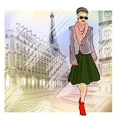 Lady strolling the streets of paris vector