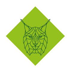 abstract geometric lynx head logo vector image