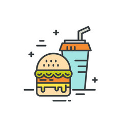 fastfood line icon vector image