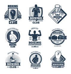 Vintage boxing sports club labels and vector