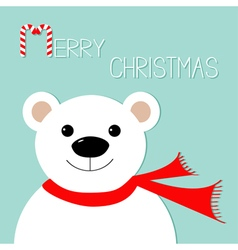 White polar bear in red scarf Candy cane Merry vector image vector image