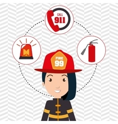 woman firefighter extinguisher vector image