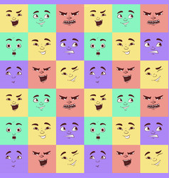 funny cartoon facial expressions seamless pattern vector image