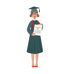 graduated student girl in cap gown showing diploma vector image