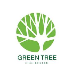 green tree logo original design eco and bio badge vector image