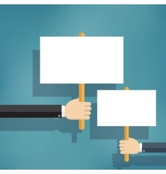 Hands holding blank protest boards vector image vector image