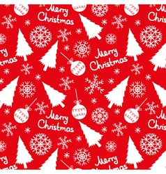 seamless pattern of christmas elements on a red vector image