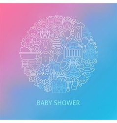Thin Line Baby Shower Icons Set Circle Concept vector image