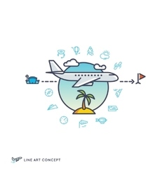 Air travelling airplane flight concept with vector image vector image