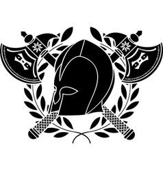 fantasy barbarian helmet with axes and laurel vector image vector image