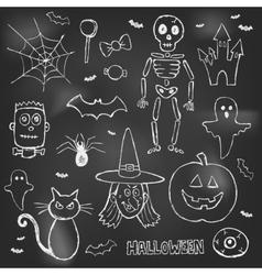 Halloween hand drawn doodles over black board vector image vector image