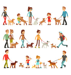 happy people with pets women men and children vector image
